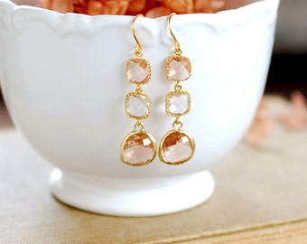 Gold Plated Peach Champagne and Clear Framed Glass Dangle earrings, Long Earrings, Bridal Party Wedding Earrings, Bridesmaid Gift,