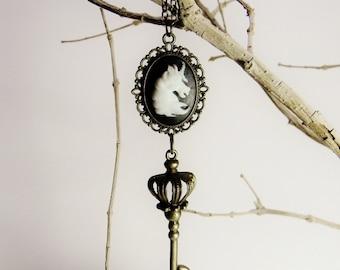 Unicorn & Crowned Key Cameo Pendant in Antique Brass Filigree Victorian Steampunk