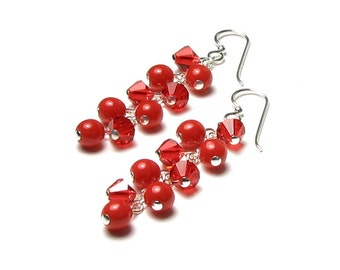 XOXO Hugs & Kisses Long Red Earrings, Bright Red Czech Glass, Swarovski Crystal, Sterling Silver Earrings, Valentine's Day, Romantic Jewelry