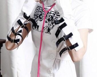 SALE 32.00 Guro Lolita Grotesque Gothic Punk Skull Medical Metal Hospital Belted Nurse Uniform Shirt+Arm Warmer