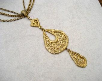 Vintage Festoon Necklace Triple Pendant Gold Tone Openwork Multi Chain 60s 70s