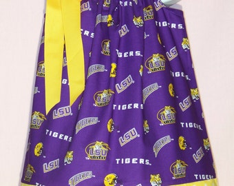 LSU Pillowcase Dress / Purple & Gold / Geaux Tigers / Newborn / Infant / Baby / Girl / Toddler / Handmade / Custom Boutique Clothing