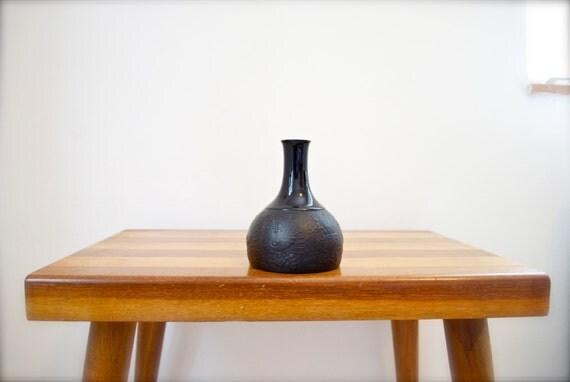 Vintage Black Vase Bjørn Wiinblad Mid Century Matte Glazed Porcelain Noir Vase Rosenthal