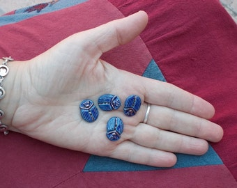 Cobalt blue andTurquoise scarab ceramic buttons  - 4 buttons - ocean mist glaze - Egyptian cobalt blue scarabs -  0.6 x 0.8 inch
