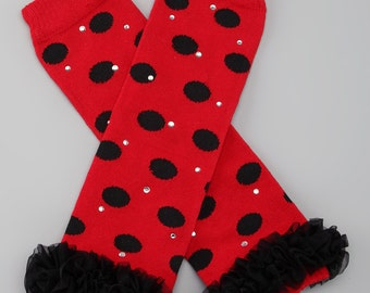 Red and Black Polka Dot Leg Warmers with Bling and Black Tutu
