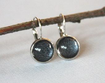 Charcoal Metalic Earrings, Glass Cabochon Black Earrings,12mm, Silver, Dangle, Lead Nickel Free