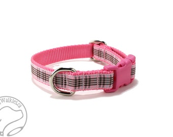 "Pink Raspberry Tartan Dog Collar - 3/4"" (19mm) wide - Choice of collar style and size - Martingale Dog Collars or Quick Release Buckle"
