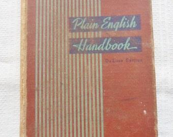 English School Book from the 30's, Plain English Handbook, Distressed Book