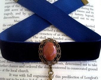Velvet Choker, Gothic Choker, Swarovski Crystal  - Victorian Gothic Jewelry