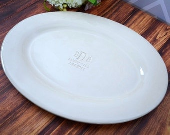 Personalized Wedding Gift or Anniversary Gift - or Signature Guestbook Alternative -  Monogrammed Oval Platter  - Gift Boxed