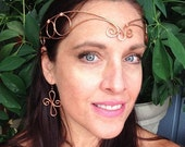 Copper Handpound Wire Elfin Headpiece, Crown, Renaissance, Medieval, Headdress with Matching Wire Arm Cuff and Dangle Earrings