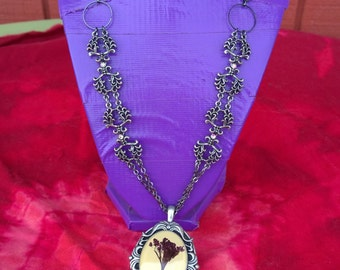 Victorian Flowers- Handmade Necklace with Silver Chain and Purple Flower Pendant