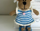 Hand Knit Teddy Bear - Stuffed Bear - Child Toy -  Kids Toys - Stuffed Animal - Knitted Toy - Bear Slippers -Plush Doll - Small Toy Rebecca