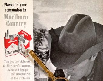 Vintage Ad/ Marlboro Cigarette Ad Flavor is your Companion in Marlboro Country/ Original 1960s Magazine Ad