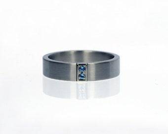 Aquamarine ring, palladium wedding band, mens wedding band, aquamarine wedding, men wedding ring, blue, palladium, modern pave ring, flat