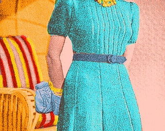 Almost FREE Vintage 1939 Sunny Isle Dress with 8 Gore Skirt & Short Sleeves 111 PDF Digital Knit Pattern