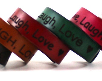 Customized Leather Bracelet Band Custom Engraved Engraving Adjustable Snap Personalized Colors Colored Color Brown Black Red White B049-PS