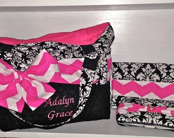 Personalized Diaper Bag In Michael Miller Dandy Damask With Hot Pink  Chevron Bow Sash. Choose Your Set Style