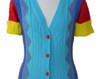 Women jacket, knitted jacket, women knitwear, cotton jacket, blue jacket, knit cardigan, summer jacket, multicolor jacket, gift for women
