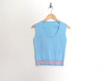 90s Light Blue Knit Vest Pullover Sleeveless Shirt Blouse Robin Egg Pastel Preppy Hipster Women Size XS SMALL
