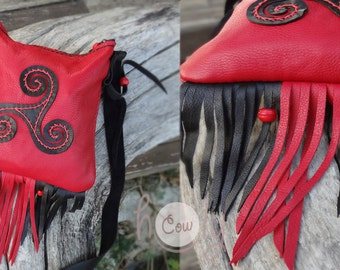 Red Leather Shoulder Bag, Red Leather Bag, Leather Bag, Irish Bag, Tribal Bag, Ethnic Bag, Shoulder Bag, Ethnic Bags, Celtic Bag, Hippie Bag
