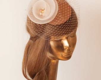 BRIDAL Camel Bronze FASCINATOR with Ivory Crin Flower . Wedding Mini Hat