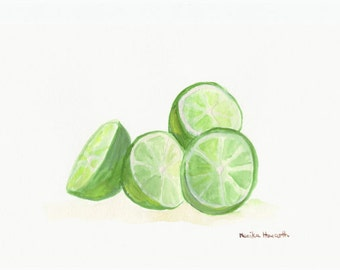 Limes art, fruit painting, kitchen decor one of a kind 10 x 7 inches