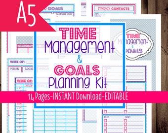 Printable Planner Half Size, Filofax A5, Half Size Weekly Planner, Daily Planner, 2015 Planner, 14 Pages, Instant Download, Editable
