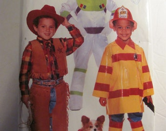 Butterick 4654, Children's Halloween Costume Pattern, Fireman, Cowboy and Astronaut Sewing Patterns, Sizes 2 to 6X , Uncut