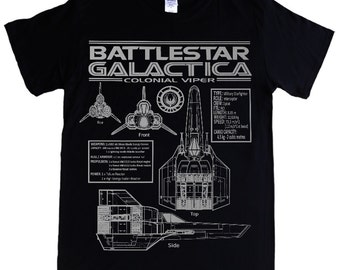 BATTLESTAR GALACTICA Colonial Viper -  S - 5XL T-shirt - blueprints, schematics spec and stats