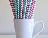 Pink and Teal Chevron Paper Straws Dark Pink and Aqua Party Supplies Gender Reveal Party Bar Cart Accessories Cake Pop Sticks Graduation