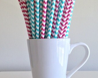 Pink and Teal Chevron Paper Straws Dark Pink and Aqua Party Supplies Gender Reveal Party Bar Cart Cake Pop Sticks  Graduation
