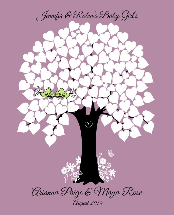 Baby Shower Guest Book Alternative Hearts Tree Love Birds Twins