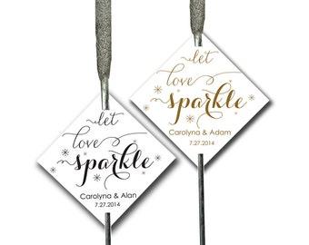 Sparkler Tags Printable Carolyna - 2x2 inch wedding sparklers card diy CUSTOMIZED