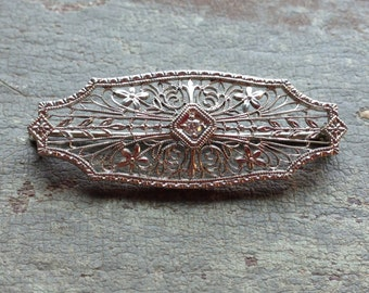 Antique 14K White Gold Filigree Diamond Brooch Pin, Art Deco Bar Pin