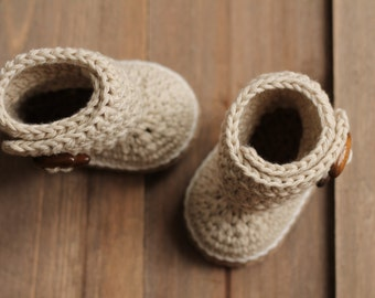 "Crochet Baby Booties Pattern ""Indie"" Crochet Baby Cute Bootie Beige Slipper, Simple Boot PATTERN ONLY"