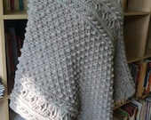 Reserved for Kelley - Cabled Poncho - heather grey - perfect for Fall - one size fits most