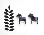Swedish Dala Horse Magnets - Black and White - Scandinavian Nordic Design - Kitchen Office Home Decor - Set of 2