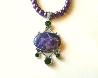 Lovely Purple Sea Sediment Jasper Necklace, Sterling Green Topaz And Purple Jasper Pendant & Purple Glass Bead Necklace
