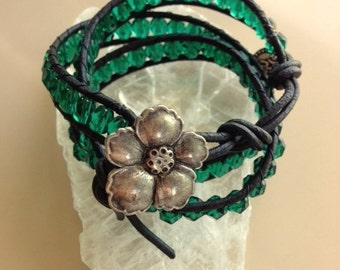 Blue Green Swarovski Crystal Wrap Bracelet