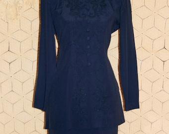 80s Dress Long Sleeve Dress Dark Blue Dress Small Petite Midi Dress Rayon Fitted Dress Suit Dress Size 4 Dress Size 6 Dress Womens Clothing
