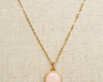 Pale Pink Necklace, Simple Pink Necklace, Pink Resin Disc Necklace, Peach Disc Necklace, Resin Jewelry For Her