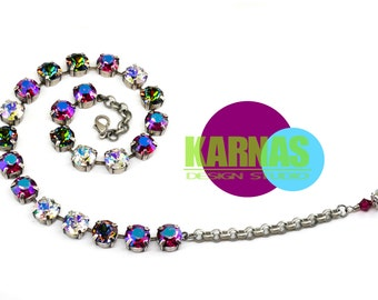 25% SALE Bling Baby Bling 10mm or 47ss Choker Swarovski Elements *Antique Silver *Karnas Design Studio *Free Shipping*