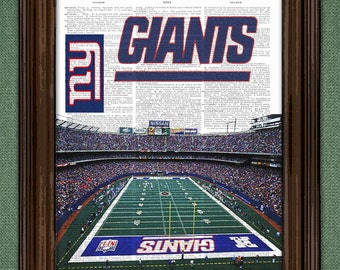 NY Giants Dictionary Art Print - N.Y. Giants football Stadium - on Vintage Dictionary Paper - N.Y.Giants art print Gift For Him