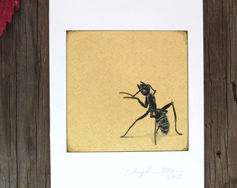 SALE!!! Little Black Ant #2 Print 5x7 20% OFF Insect Print, Insect Artwork, Bug Art