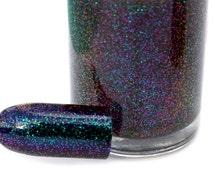 I Love Hue - Multichrome Glitter Topcoat - The Chromatic Love Collection Nail Polish - Shifts Green to Purple - Chromaflair Glitter