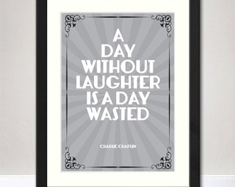 Charlie Chaplin Vintage Style Typographic Quote Print | Available Framed or Unframed