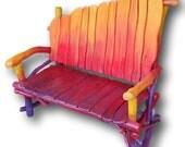 Pallet Bench, Art Furniture, Reclaimed Wood Bench, Rainbow, Repurposed Pallet, Woodworking, Pallet Furniture, Red Bench, Robert R Norman