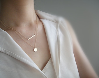 Gold Layering Necklace Set, Gold Skinny Bar Necklace, Personalized Gold Initial Disc Necklace, Contemporary Minimalist