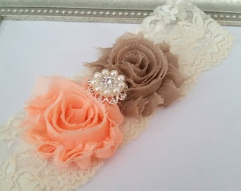 Ivory, Champagne, Peach Bridal Garter,  Stretch Lace Garter, Keepsake Garter, Wedding Garter,  Bridal Garter